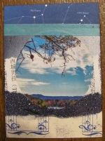 'On the Horizon' ATC. Created by collaging.