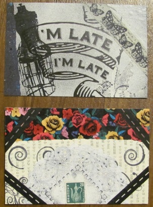Two handmade postcards created with rubber stamping, spray paint, washi tape, and collaging.